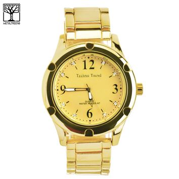 Jewelry Kay style Men's Bling Bling Iced CZ 14k Gold Plated Metal Band Fashion Watches WM 1337 G