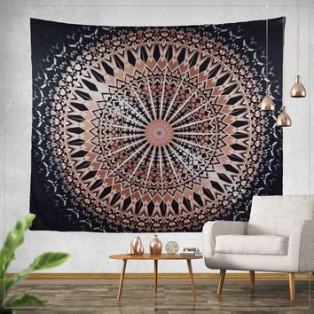 Reese Black Rose Gold Boho Mandala Tapestry