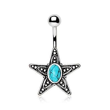 316L Stainless Steel Antique Star With Turquoise Stone Inlay WildKlass Navel Ring