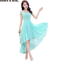 Hot Bohemia Style Women's Asymmetric Sleeveless Long Casual Dress Vestidos Feminine Elegant