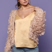 Thrown Off Yarn Loop Cropped Jacket - Blush