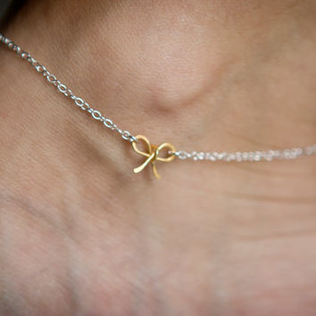 Gold Vermeil Bow on Sterling Silver Chain Anklet - Tiny Petite Wire Bow - Ankle Bracelet Mixed Metal Gold and Silver- Mother's Day Gift