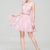 [US$ 138.99] A-Line/Princess Halter Short/Mini Tulle Lace Homecoming Dress With Beading Sequins (022087602)