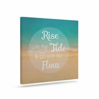 "Alison Coxon ""Rise With The Tide"" Teal Brown Canvas Art"
