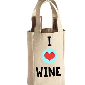 I Love Wine Canvas Natural Wine Tote