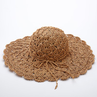 Women Summer Straw Beach Sun Hat Foldable Wide Brim Weave Cap in 4 Colors New