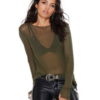 Army Green Sheer Long Sleeves T-Shirt