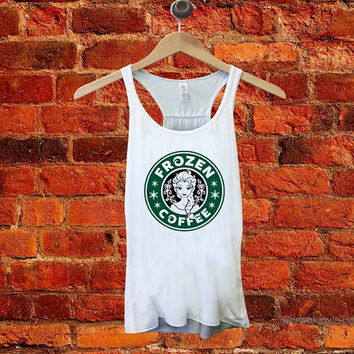 frozen coffee starbucks logo parody screenprint tanktop for woman Unisex adult for gift valentine