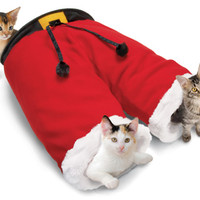 Crinkle Noise Santa Pants with Two Tunnels for Cats
