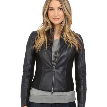 Armani Jeans Lamb Leather with Scuba Mesh Detail Blouse