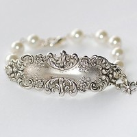 Vintage Silver Ornate Victorian and Pearl Bracelet by crushjewels