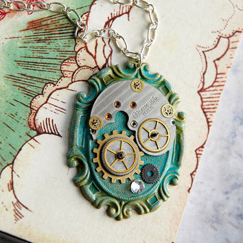 Steampunk Necklace Silver and Gold Watch Gears by bionicunicorn