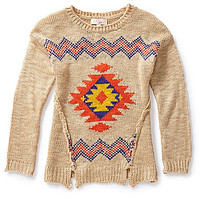 GB Girls 7-16 Tribal-Printed Sweater - Natural