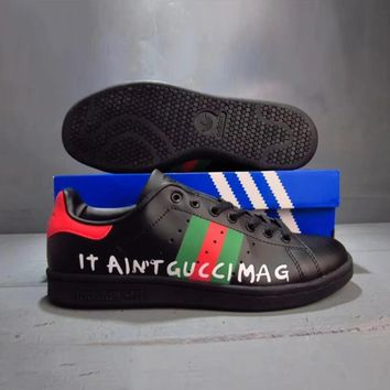 One-nice™ GUCCI ADIDAS Stan Smith Women Men Trending Fashion Casual Sports Shoes Black