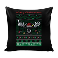 Merry Christmoose Funny Hunting Festive Funny Ugly Christmas Holiday Sweater Decorative Throw Pillow Cases Cover(4 Colors)