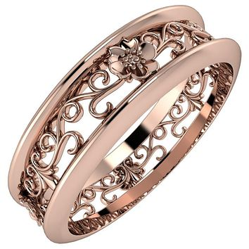 Marie Floral and Vines Filigree Eternity Wedding Band