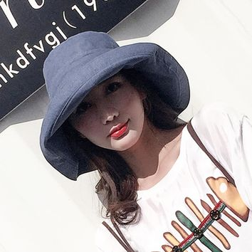 ZJBECHAHMU Hats Casual Vintage Solid Polyester Sun Hat For Women Girl New Summer Outdoor beach hat foldable bucket large Caps