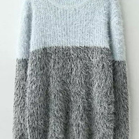 Blue and Grey Color Block Shaggy Knit Sweater