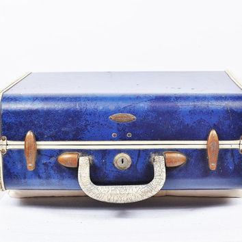 marble cobalt monaco blue samsonite bronze clasps cream trim train case luggage suitcase vintage 1940s