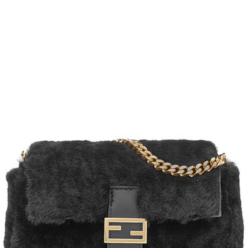 Micro Baguette Shearling Shoulder Bag - Fendi | WOMEN | US STYLEBOP.com