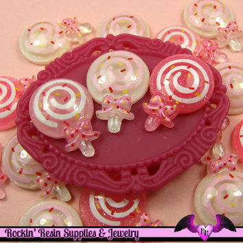6 pieces Glitter LOLLIPOP Kawaii Resin  Flatback Cabochon 22x16mm