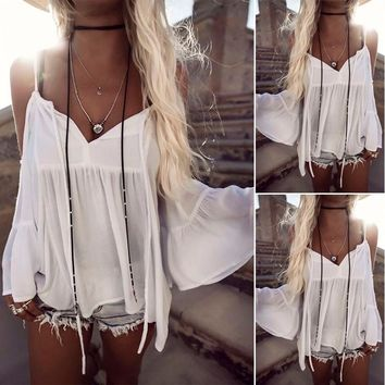 New Women Summer Blouses Loose Casual Chiffon Off Shoulder Tops Blouse Ladies Top Women Fashion New Clothes