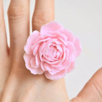 peony rose ring, polymer clay jewelry, polymer clay flower, flower ring, big flower ring, flower jewelry, polymer clay ring, adjustable ring