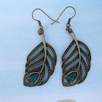 retro earringsantique bronze feather with green by happynewworld