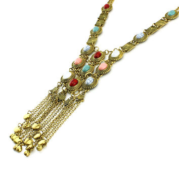 Vodeshanliwen Hot sale Exaggerated Women Long Boho Necklace Crystal Charm Hang Double Chain Tassel Statement Necklace Jewelry