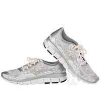 Women's Nike Free 5.0 v4 in White/Grey Snakeskin with Swarovski crystal detail