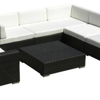 2017 Outdoor Sofa Sectional All Weather Wicker 7 Piece Resin Couch Set