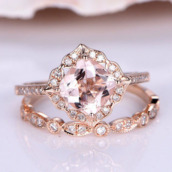 7mm Cushion Morganite Engagement Ring Rose Gold Vintage Floral Halo Art Deco Diamond Wedding Band 2PCS Bridal Set Marquise Wedding Ring Set