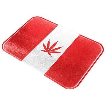 ESBGQ9 Canada Flag Pot Leaf Marijuana All Over Glass Cutting Board