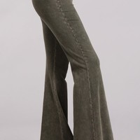 Chatoyant Mineral Wash Flare Pants in Dark Moss