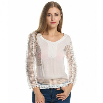 Women Fashion Sexy V Neck Long Sleeve Hollow Patchwork Fringed Blouse Top