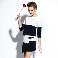 Contrast Half Sleeve Top with Wrap Mini Skirt Set