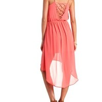 Strappy Back Chiffon High-Low Dress by Charlotte Russe - Coral