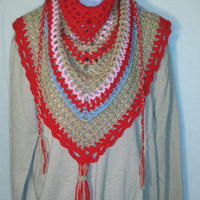 Red Road Trip Scarf Ladies Scarf Mens Scarf Triangle Scarf Crocheted the Perfect Holiday Birthday Sweetest Gift Scarves for Her Him Mom Dad