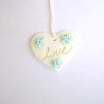 Wedding Favor Tag. Bridal Shower Tag. Mint and Gold Love Tag. Heart Tag. Set of 10