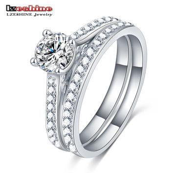 LZESHINE Silver Gold Color 2 Piece Crystal A Set Finger Ring for Women Pave AAA Zircon Stone Prom Jewelry Party CRI0293