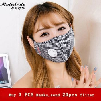 3pcs/lot Moledodo brand Adult mouth mask PM2.5 dust mask Cotton Anti-fumes respirator Mask on the mouth adjustable size D5