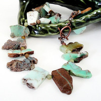 Chrysoprase Green  Graduated Slab Necklace,  Mint Green Natural Raw Slab Chunky Statement Necklace