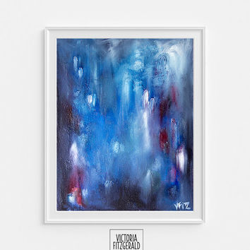 Abstract Blue Grey Black and White A4 Fine Art Print of original painting 'kismet',State of Being Alphabet Series