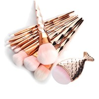 11Pcs Diamond Rose Gold Makeup Brush Set Mermaid Fishtail Shaped Foundation Powder Cosmetics Brushes Rainbow Eyeshadow Brush Kit