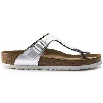 Birkenstock Gizeh Soft Footbed Leather Metallic Silver 1003674 Sandals - Ready Stock