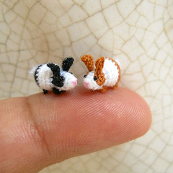 Miniature Bunny Rabbit Amigurumi - Micro Crochet Tiny Stuff Animals - Set of 2 Rabbits - Made To Order