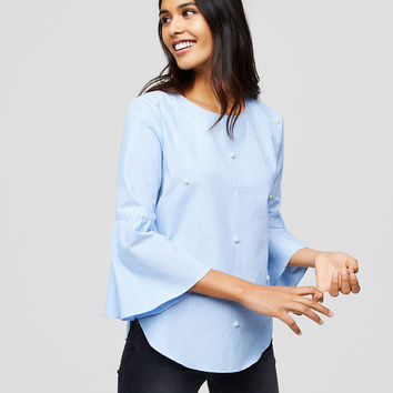 Pearlized Bell Sleeve Shirt | LOFT