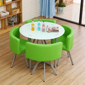 LK631 Ferroalloy+Pu +Toughened Glass Round Desk House Reception Meeting Tea Table Sets Fashion Design Chair Sets 4 Chair 1 Table