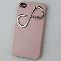 "Light Pink Hard Case Cover With One Direction ""Directioner"" Infinity for Apple iPhone 4 Case, iPhone 4 Cover,iPhone 4s Case, iPhone 4gs"