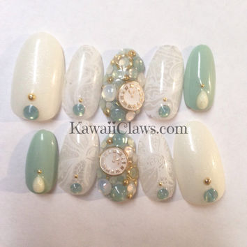 Pastel green & ivory white lace with vintage style clocks and Swarovski opal false fake 3d press on nails